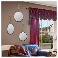 round nautical decorative wall mirror with rope hanger silver gray