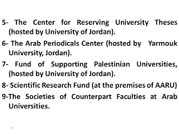 higher education scientific research in the arab world ppt  5 the center for reserving university theses hosted by university of