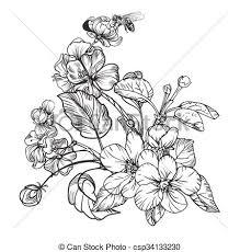 Vintage Elegant Flowers Black And White Vector Illustration Botany