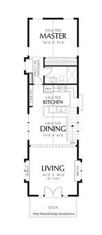ideas about Narrow House Plans on Pinterest   Small House    Upper Floor Plan of Mascord Plan   The Skycole   Contemporary Craftsman Plan Perfect for
