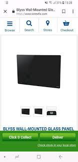 blyss 1500w black glass panel heater
