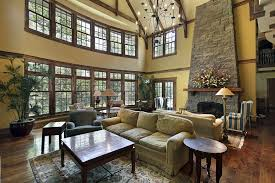 great room with 2 story cathedral ceiling 2 sitting areas wood floor big living room furniture living room