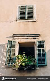 Grünen Fensterläden Die Fassade Der Häuser Stockfoto Nadtochiy
