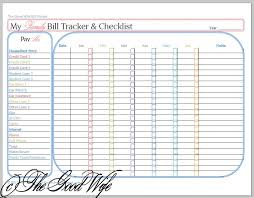 The Good Wife: New Budget Worksheet - Bill Tracker and Checklist ...