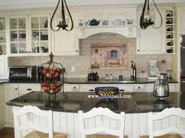 love this kitchen with our french country house mural white cabinets black granite and subway tile backsplash