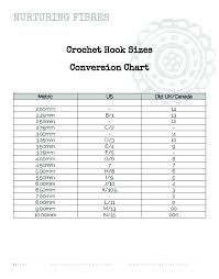 Conversion Chart Crochet Hooks Conversion Chart Nurturing Fibres