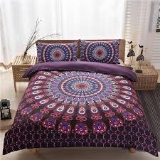 3pcs bed set home mandala bedding set queen sheets soft twill bohemian print duvet cover with