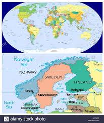 Norvegia Svezia Finlandia Danimarca Scandinavia e mondo Foto stock - Alamy