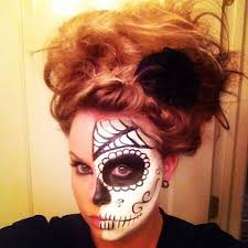 this is my cousin rosie and it s awesome diy mexican sugar skull makeup for all you need is spirit black and white makeup