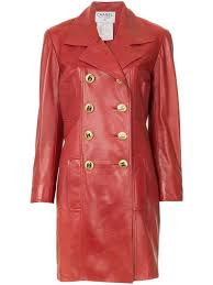 chanel chanel vintage double ted leather coat