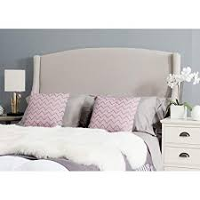 upholstered wingback headboard. Exellent Upholstered Safavieh Austin Taupe Linen Upholstered Wingback Headboard Queen Throughout E