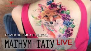 Cover Up Tattoo лиса в цветах магнум тату Live