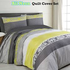ali neon grey yellow quilt duvet cover set single double queen king super king