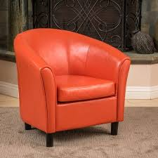 napoli orange bonded leather club chair by christopher knight home
