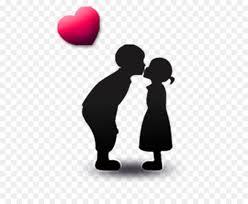 silhouette kiss cute children kissing