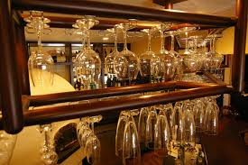 wine stemware rack under cabinet wooden hanging