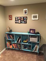 wooden crate bookcase saw other pins on this and had to do it crates from joanne fabrics stain and sealer from home depo total cost not inclu