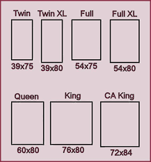 standard bed measurements Just in case you're not sure which size to order.  Cal king is longer, yet narrower than a king size. The common misconception  is ...