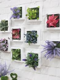 white wood pot artificial plant wall art 16134 2 600x800 captivating