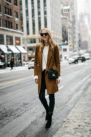 nyfw winter outfit camel wool coat white ruffle sleeve sweater