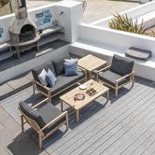 1993 alexander rose roble hardwood garden lounge set with deep cushions garden furniture