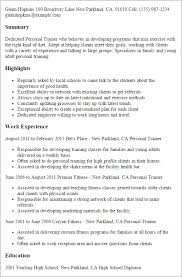 Personal Trainer Resume Sample | Best Professional Resumes, Letters ...