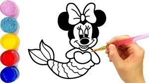 Dạy bé vẽ và tô màu chuột Minnie | Cara Menggambar dan Mewarnai Minnie  Mouse