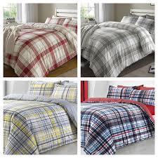 details about modern checked print duvet quilt cover bed sets grey red yellow blue red