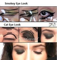 one pair perfect cat eye smokey eye makeup eyeliner models template top bottom eyeliner card auxiliary tools eyebrows stencils eyebrow liner eyebrow