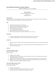 Early Childhood Education Resume Template Inspirational Skills For