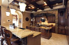 Beautiful Tuscan Kitchen With Golden Riviera Granite Countertop Island And Breakfast  Bar