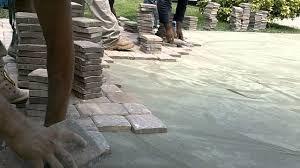 thin concrete interlocking pavers