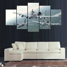 airplane canvas wall art posters prints 5 panel military aircraft canvas painting wall modular pictures for airplane canvas wall art