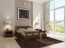 dark brown wooden bed frame with headboard on brown fur rug