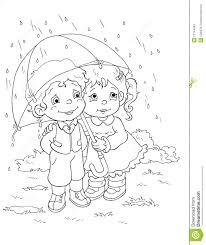 In Bianco E Nero Bambini E La Pioggia Illustrazione Di Stock