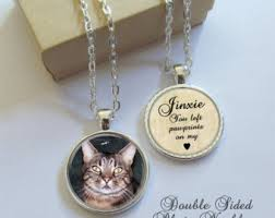 pet memorial necklace double sided photo pendant personalized pawprints on my heart