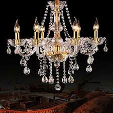 extravagant 6 head candle crystal chandeliers gold