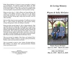 Obituary   Wayne and Sally McGuire of Bristow   Traditions Funeral and  Cremation Services