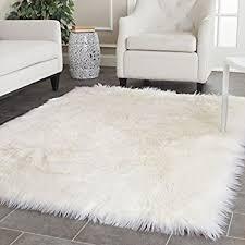 white shag rug. Safavieh Faux Silky Sheepskin FSS235A Ivory Area Shag Rug (6\u0027 X 9\u0027) White I