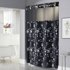 black and gray shower curtain. hookless® 71-inch x 74-inch fiona shower curtain and liner in black gray