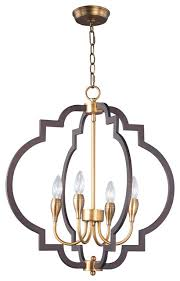 crest 4 light chandelier in oil rubbed bronze and antique brass