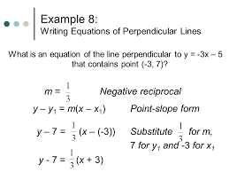 example 8 writing equations of perpendicular lines