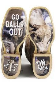 Tinhaul Mens Go Balls Out Cowboy Boots Rodeo Bullriding