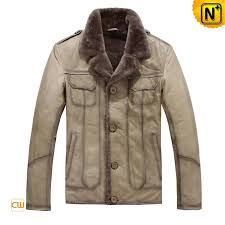 men s casual real fur lined leather jacket cw819329