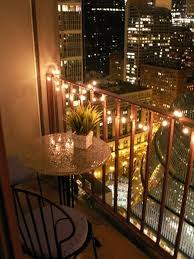 lighting and table :) Chicago high-rise studio apartment - Balcony lights