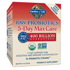 com garden of life raw probiotics 5 day max care powder banana flavor acidophilus probiotic support for digestive and immune system gluten