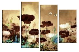 brown floral canvas wall art