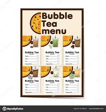 Bubble Tea Menu Graphic Template Stock Vector Foontntd