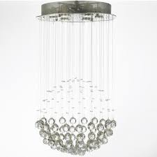 harrison lane modern 6 light chrome flushmount crystal raindrop chandelier