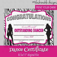 Dance Award Certificate Dance Certificate Print Your Own Instant By